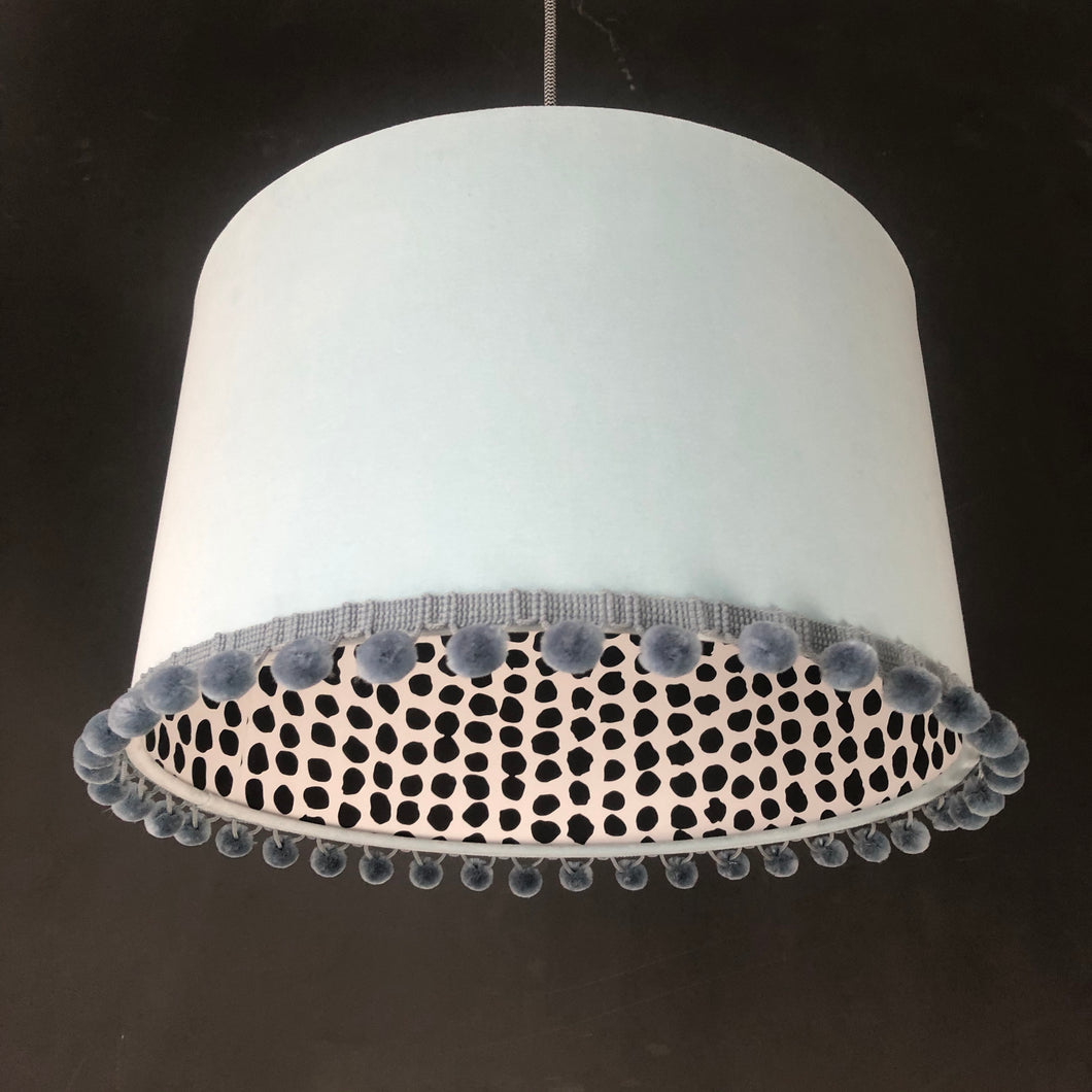 RESERVED FOR MELISSA: Duck egg blue velvet with monochrome dot lampshade and grey pompom trim