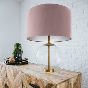 NEW: Dusty pink velvet with opaque white liner lampshade