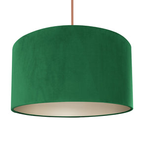 NEW! Emerald green velvet with champagne liner lampshade