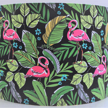 Load image into Gallery viewer, Blush silk with flamingo and leaf lampshade