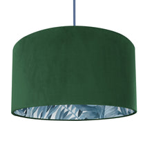 Load image into Gallery viewer, New! Forest Green velvet with blue leaf lampshade