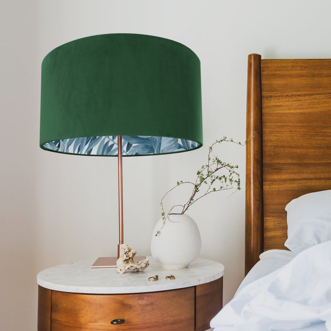 New! Forest Green velvet with blue leaf lampshade