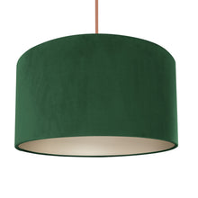 Load image into Gallery viewer, Forest green velvet with champagne liner lampshade