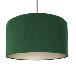 Forest green velvet with champagne liner lampshade