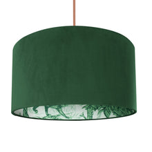 Load image into Gallery viewer, NEW: Palm leaf with forest green velvet lampshade