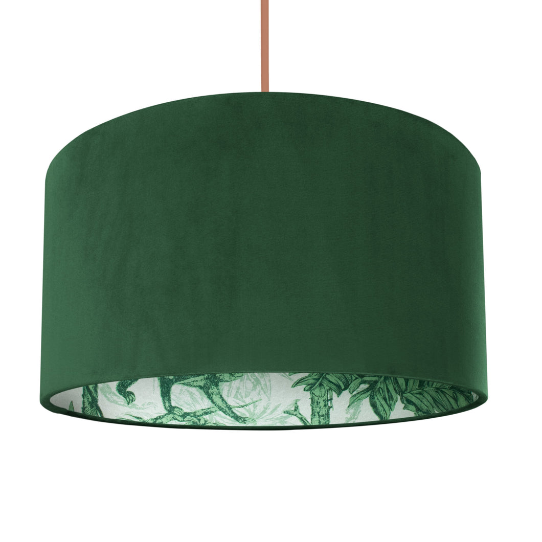 NEW: Palm leaf with forest green velvet lampshade