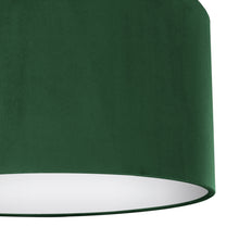 Load image into Gallery viewer, Forest green velvet with opaque white liner lampshade