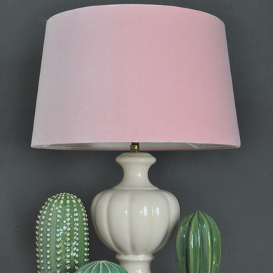 Blush pink velvet with champagne liner french drum lampshade