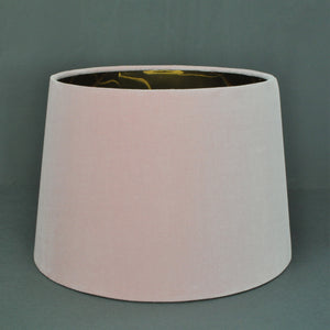 Blush pink velvet with mirror gold liner french drum lampshade