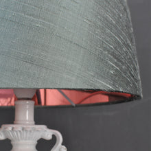 Load image into Gallery viewer, NEW! Ether green silk with mirror copper metallic french drum lampshade