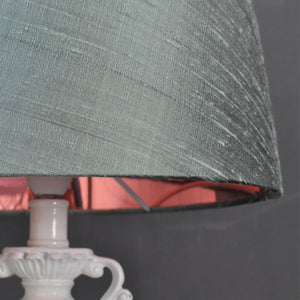 NEW! Ether green silk with mirror copper metallic french drum lampshade
