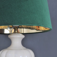 Load image into Gallery viewer, NEW! Forest green velvet with mirror gold french drum lampshade