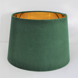 NEW! Forest green velvet with mirror gold french drum lampshade