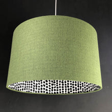 Load image into Gallery viewer, Green wool-blend fabric with monochrome dot lampshade