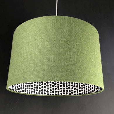 Green wool-blend fabric with monochrome dot lampshade