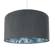 Load image into Gallery viewer, Smokey Grey velvet with blue leaf lampshade