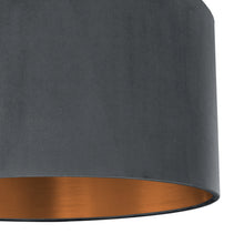 Load image into Gallery viewer, Smokey grey velvet with brushed copper liner
