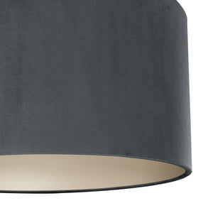 Smokey grey velvet with champagne liner lampshade