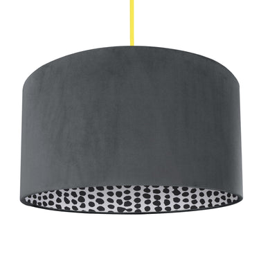 NEW! Smokey grey velvet with monochrome dot lampshade