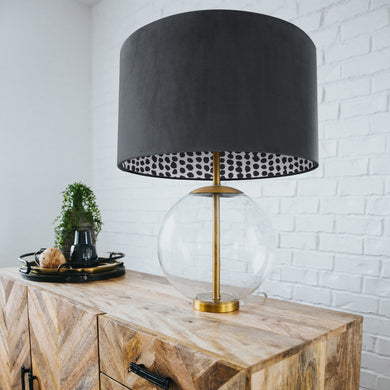 Smokey grey velvet with monochrome dot lampshade