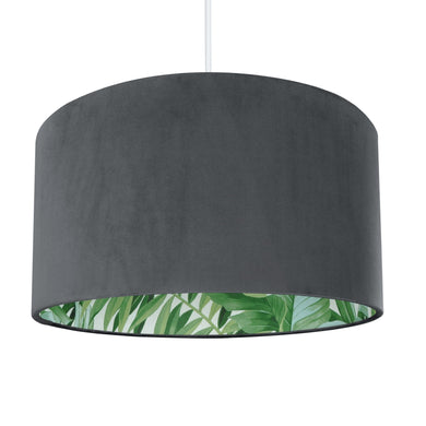 New! Smokey grey velvet with green leaf lampshade