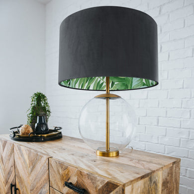 Smokey grey velvet with green leaf lampshade