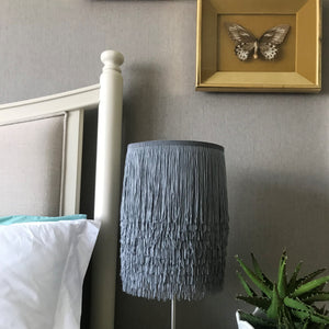 Silver grey tassel lampshade with mirror copper metallic liner
