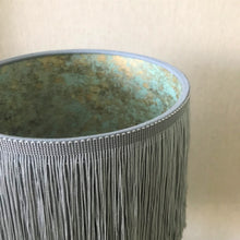 Load image into Gallery viewer, Grey tassel lampshade with Cole & Son liner