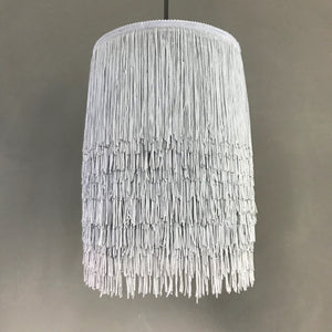 NEW: Grey tassel lampshade with Cole & Son liner