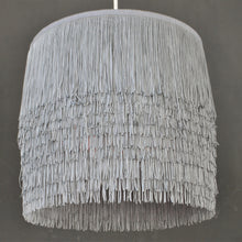 Load image into Gallery viewer, Silver grey tassel lampshade with mirror copper metallic liner