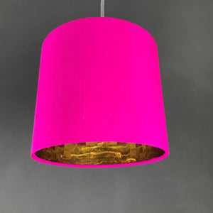 Hot pink silk lampshade with mirror gold liner