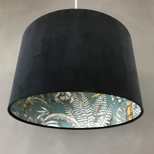 NEW: Black velvet and Ipanema heritage wallpaper lampshade
