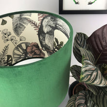 Load image into Gallery viewer, NEW: Forest green velvet and exotic leaf wallpaper lampshade