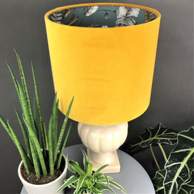 Mustard velvet and exotic leaf wallpaper lampshade