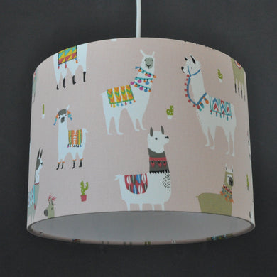 Llama print with white lined lampshade
