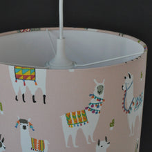 Load image into Gallery viewer, NEW! Llama print with white lined lampshade