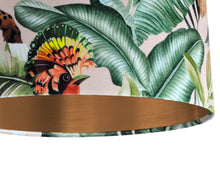 Load image into Gallery viewer, NEW: Jungle Velvet blush lampshade with brushed copper liner