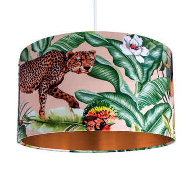 Jungle Velvet blush lampshade with brushed copper liner