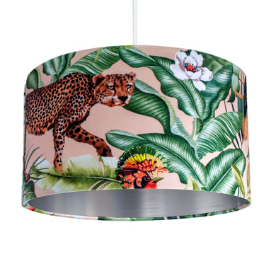 Jungle Velvet blush lampshade with brushed silver liner