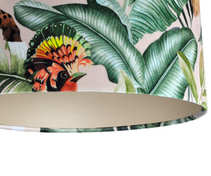 NEW: Jungle Velvet blush lampshade with champagne liner