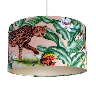 Jungle Velvet blush lampshade with champagne liner