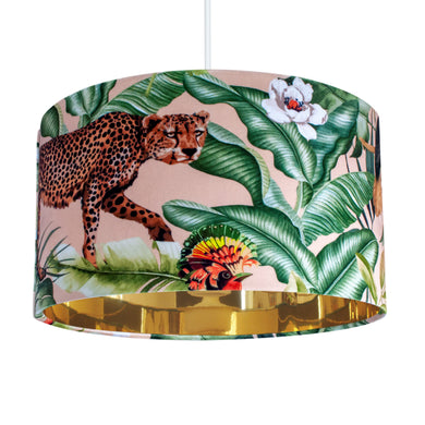 Jungle Velvet blush lampshade with mirror gold liner