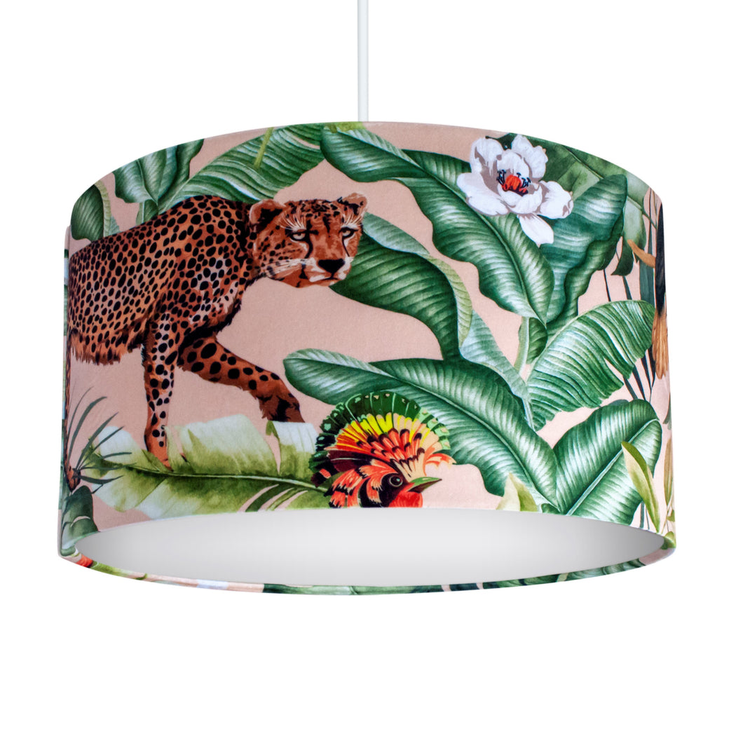 NEW: Jungle Velvet blush lampshade with white opaque liner