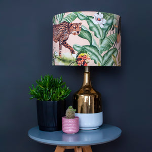 NEW: Jungle Velvet blush lampshade with brushed silver liner