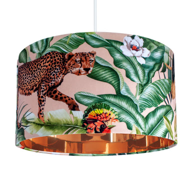 Jungle Velvet blush lampshade with mirror copper liner