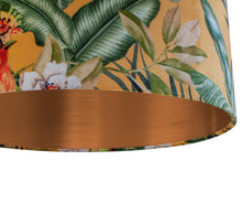 Load image into Gallery viewer, NEW: Jungle Velvet gold lampshade with brushed copper liner