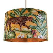 Jungle Velvet gold lampshade with brushed copper liner
