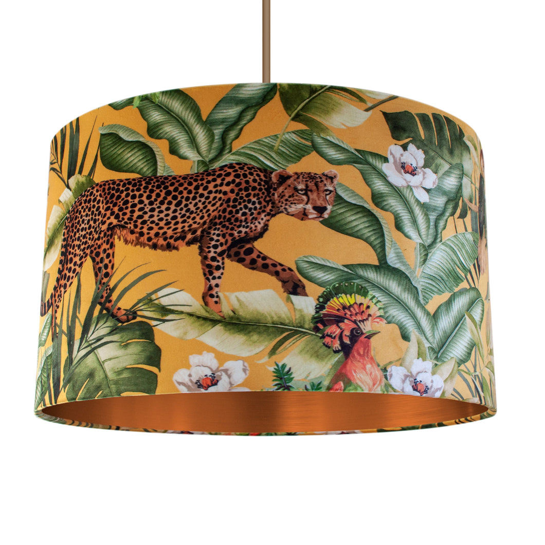 NEW: Jungle Velvet gold lampshade with brushed copper liner