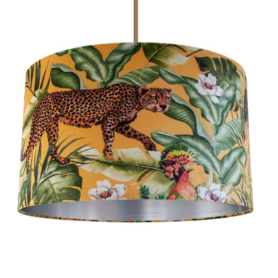 Jungle Velvet gold lampshade with brushed silver liner