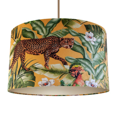 Jungle Velvet gold lampshade with champagne liner